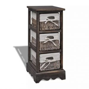 3 Basket Wooden Storage Rack