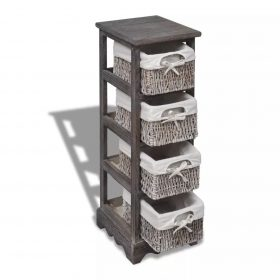 vidaXL Wooden Storage Rack 4 Weaving Baskets Brown