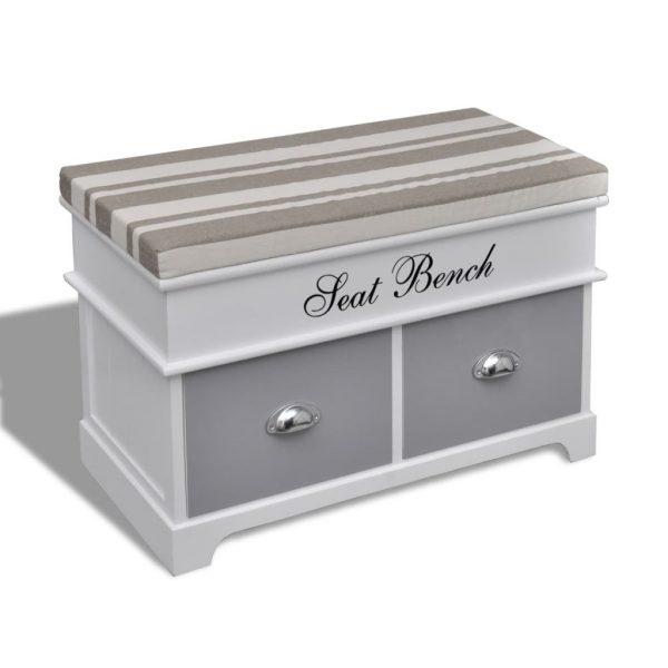 2 Drawer Storage Bench - White