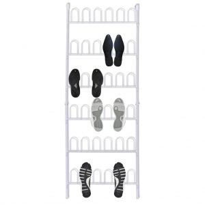 Shoe Rack for 18 Pairs of Shoes Steel - White