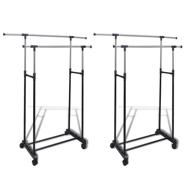 2 Rail Adjustable Clothes Rack - 2 piece set