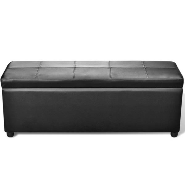 Long Wooden Storage Bench – Black