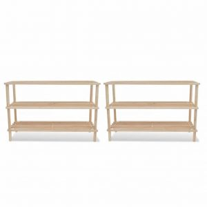3 Tier Wooden Shoe Rack - 2 Set
