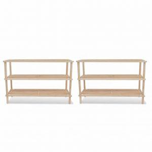 3 Tier Wooden Shoe Rack - 2 Set