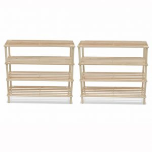 vidaXL Wooden Shoe Rack 4-Tier Shoe Shelf Storage 2 pcs