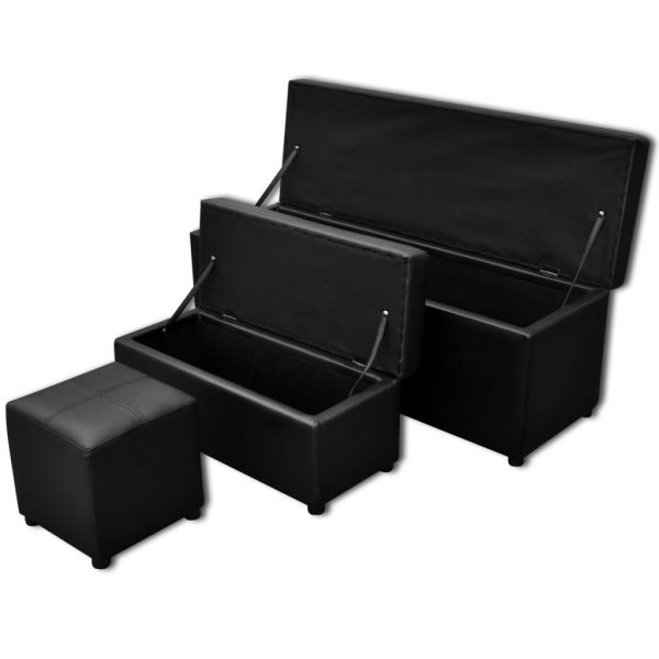 Black Storage Bench Set