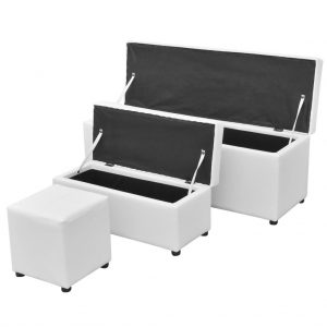 White Storage Bench Set - 3 Pieces