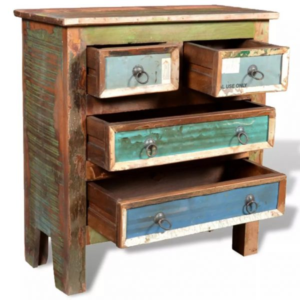 vidaXL Reclaimed Cabinet Solid Wood with 4 Drawers