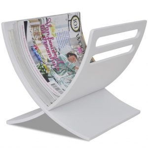 vidaXL Wooden Magazine Rack Floor Standing White
