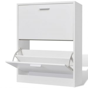 2 Compartment Shoe Cabinet - White