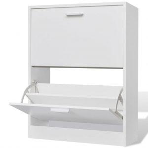 2 Compartment Shoe Cabinet - White