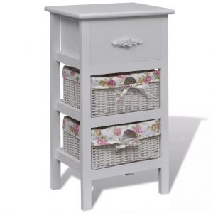 Wooden Cabinet with Baskets - White
