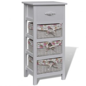Wooden Cabinet with 1 Drawer and 3 Baskets - White