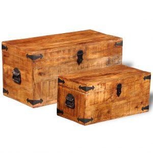 Storage Chest Set 2 Pieces - Rough Mango Wood