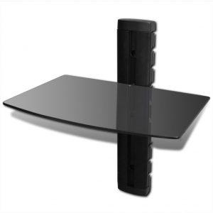 1-tier Wall Mounted Glass DVD Shelf Black