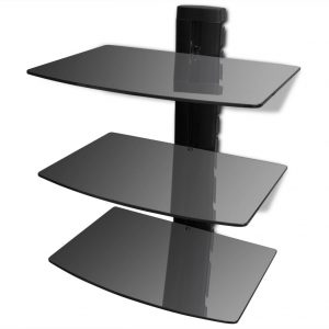 3-tier Wall Mounted Glass DVD Shelf Black