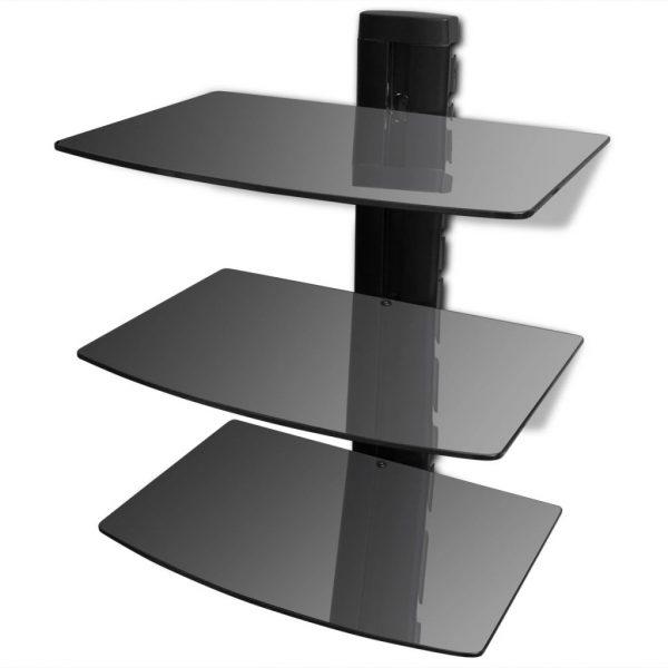 3-tier Wall Mounted Glass DVD Shelf Black