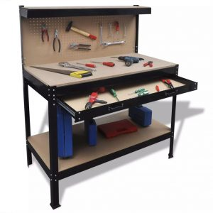 Steel Workbench with Pegboard and Drawer