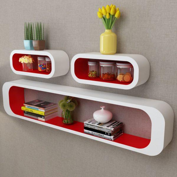Wall Shelf Cubes Set - Red