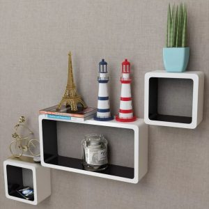 Floating Wall Shelves Set - White & Black
