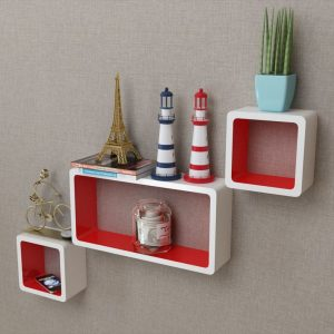 Floating Wall Shelves Set - White & Red
