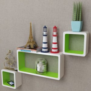 Floating Wall Shelves Set - White & Green