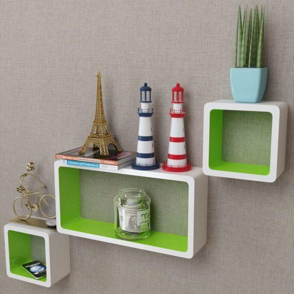 Floating Wall Shelves Set - White & Green