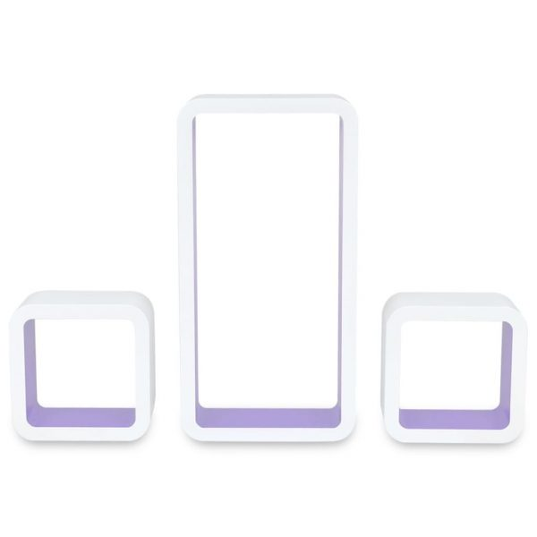 3 White-purple MDF Floating Wall Display Shelf Cubes Book/DVD Storage