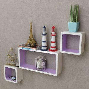 Floating Wall Shelves Set - White & Purple