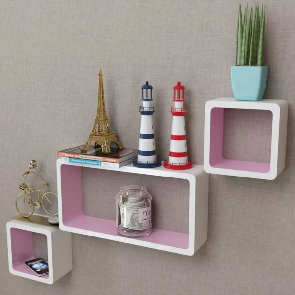 Floating Wall Shelves Set - White & Pink