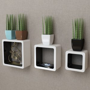 Floating Wall Cubes Set - White & Black