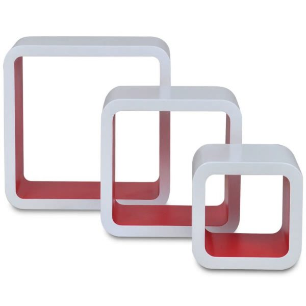 Floating Wall Cubes Set – White & Red