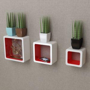 Floating Wall Cubes Set - White & Red