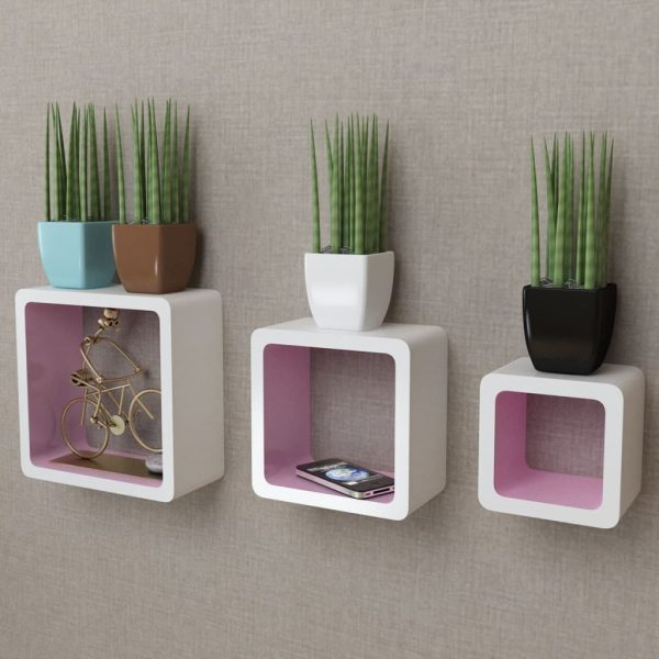 Floating Wall Cubes Set - White & Pink