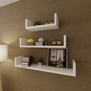 U-shaped Floating Wall Shelf Set - White