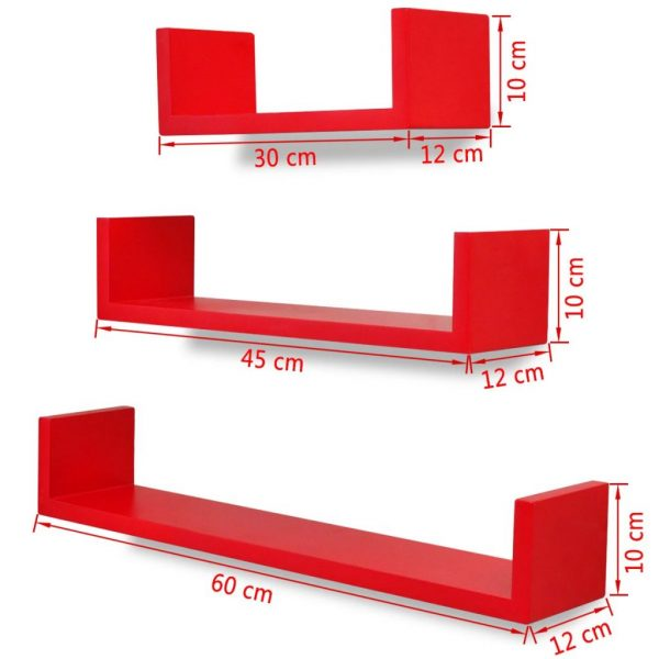 3 Red MDF U-shaped Floating Wall Display Shelves Book/DVD Storage