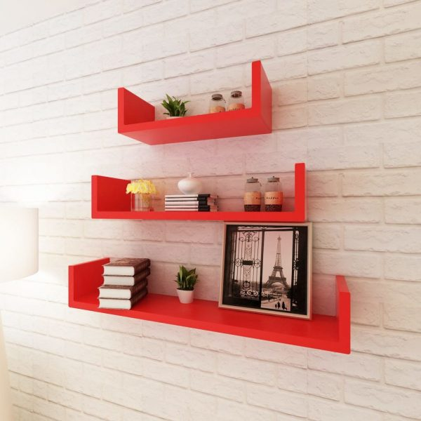 U-shaped Floating Wall Shelf Set – Red