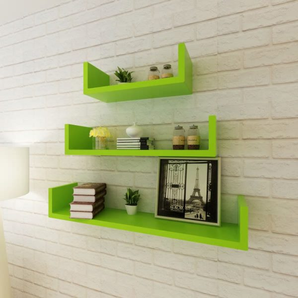 U-shaped Floating Wall Shelf Set – Green