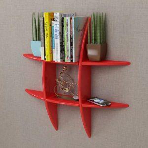 Floating Wall Storage Shelf - Red