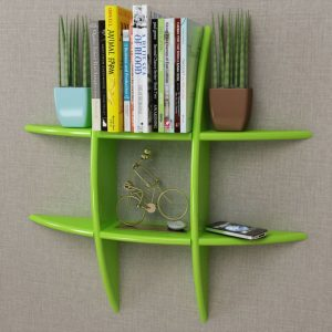 Green MDF Floating Wall Display Shelf Book/DVD Storage