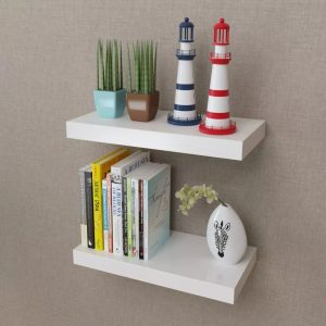 2 White Floating Wall Display Shelves - 40cm