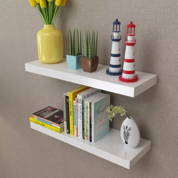 2 White Floating Wall Display Shelves - 60cm