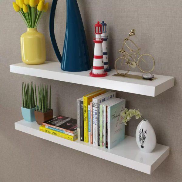 2 White Floating Wall Display Shelves – 80cm