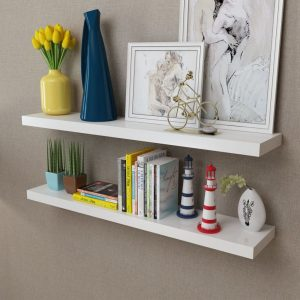 2 White Floating Wall Display Shelves – 100cm