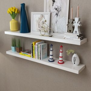 2 White Floating Wall Display Shelves – 120cm
