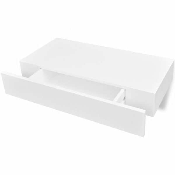Floating Wall Display Shelf with Drawer – White