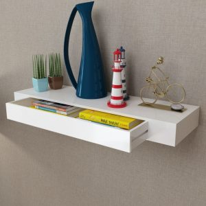 Large Floating Wall Display Shelf with Drawer - White