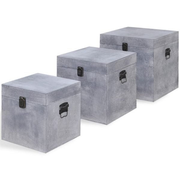 vidaXL Storage Box Concrete 3 pcs Square Grey MDF