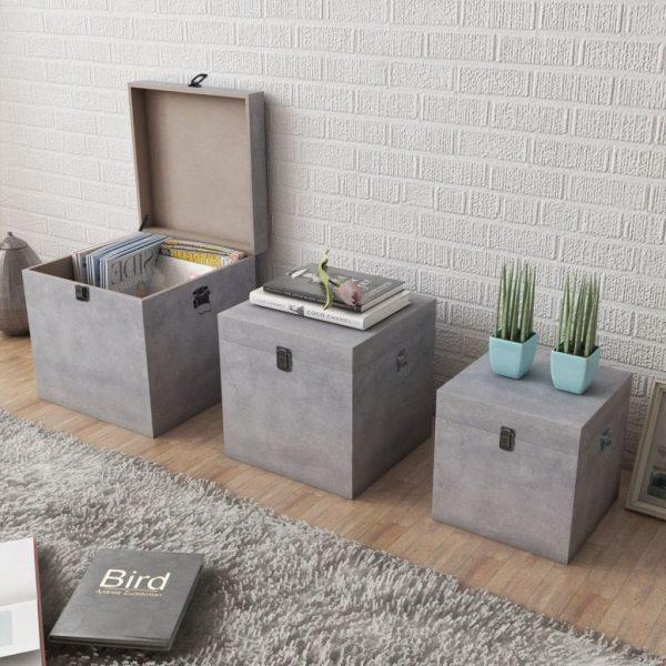 Storage Box Set - Concrete Grey