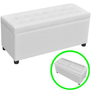 Reversible Lid Storage Ottoman - White